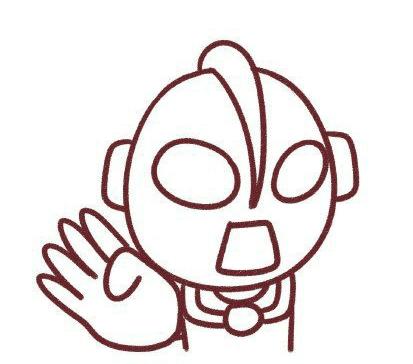画奥特曼简笔画步骤7:右边画一只小小握拳的手,然后画好短裤