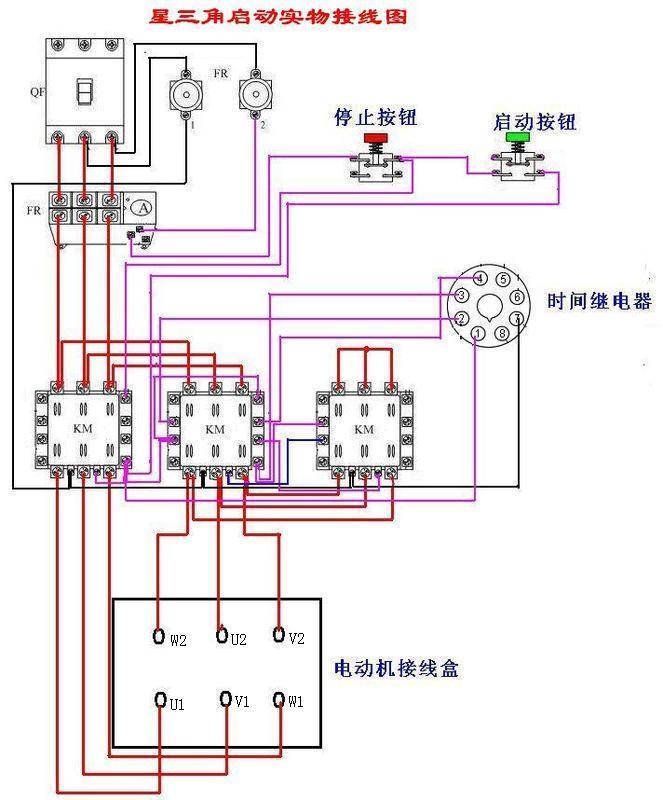 星三角启动,电机接线端子处6根线怎么接