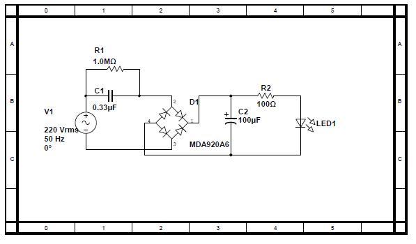 求高手提供一个 12个led的电路图,用阻容降压的.要12