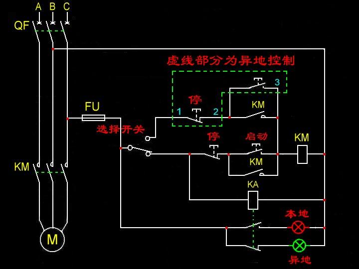 转换开关和继电器,组成1电路图,一远程控制,一就地控制.