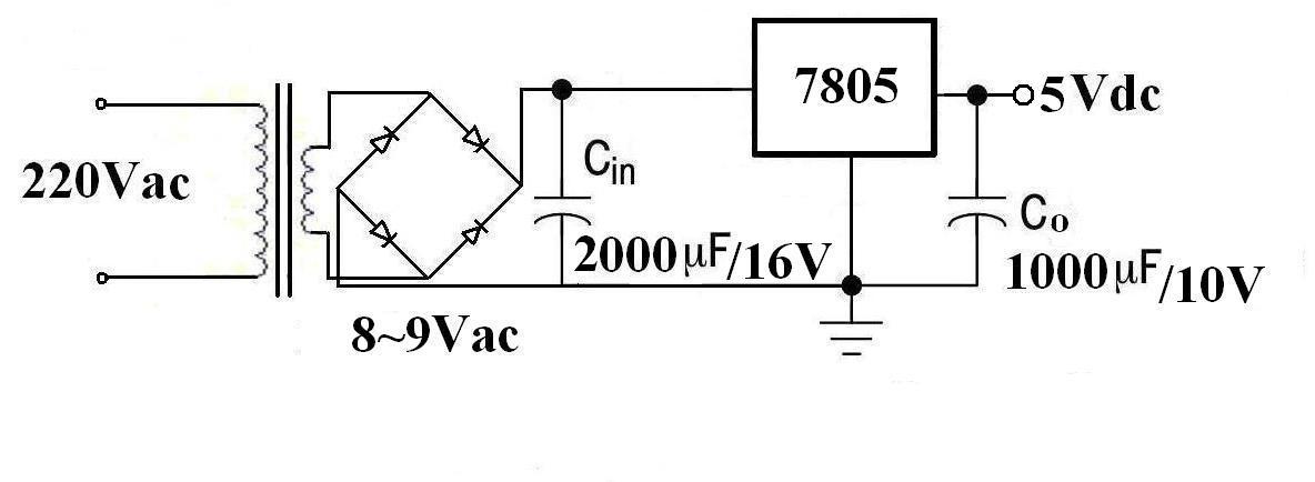 谁能帮我设计一个桥式整流器,是将交流220v转换成直流5v的电路图!