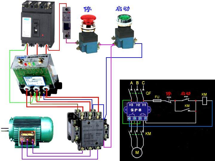 cjt1-40交流接触器与jd一5电动机综合保护器接线图及两个按扭