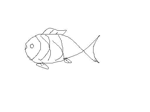 小鱼形状!简笔画!越可爱越好!