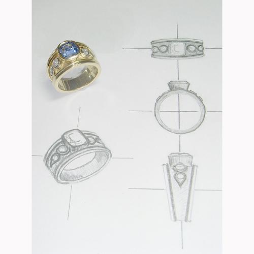 珠宝设计手绘手稿图过程