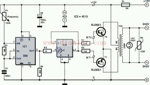 12v升220v逆变器用555时基电路怎样做300w的升压器图纸?谢谢!