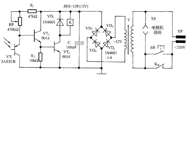 """请问在这个""""电视机光控关机""""电路中,这个vd1二极管(就"""