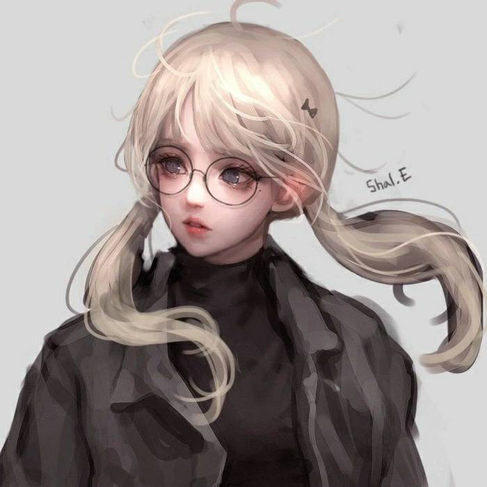 求戴眼镜的女生头像,动漫或素描的,可爱小清新,简单点