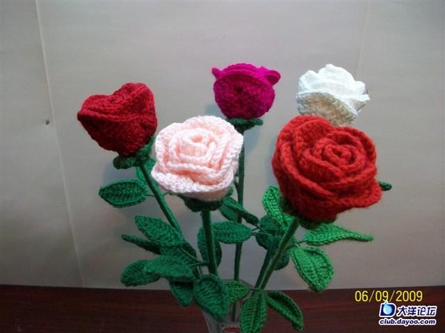 求毛线钩编玫瑰花教程,万分感谢!