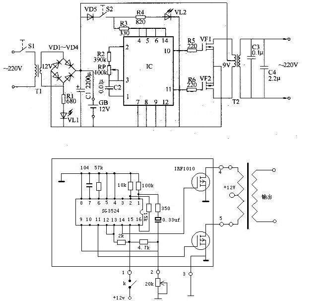 用2对 k1170场效应管怎样做逆变器