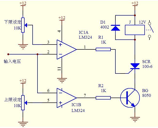 求关lm324的双限温度电路控制继电器开关的电路图.