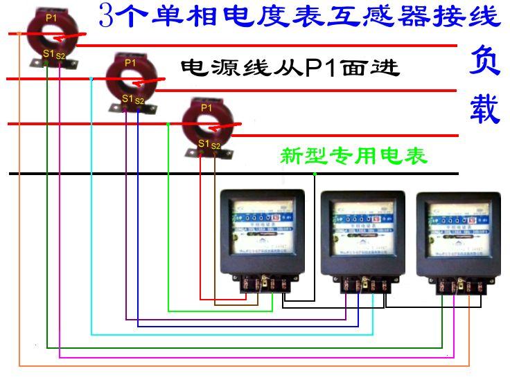 三相电用三个单项电表过互感器怎么接线