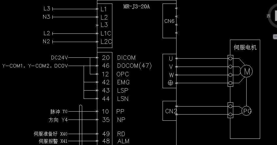 急求三菱plc控制伺服的接线图
