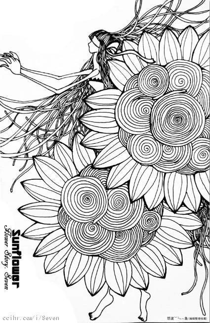 有没有简洁的黑白线描手绘插画?