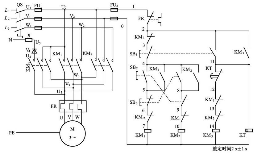 求 三相异步电机双重联锁正反转能耗制动控制电路 的接线图