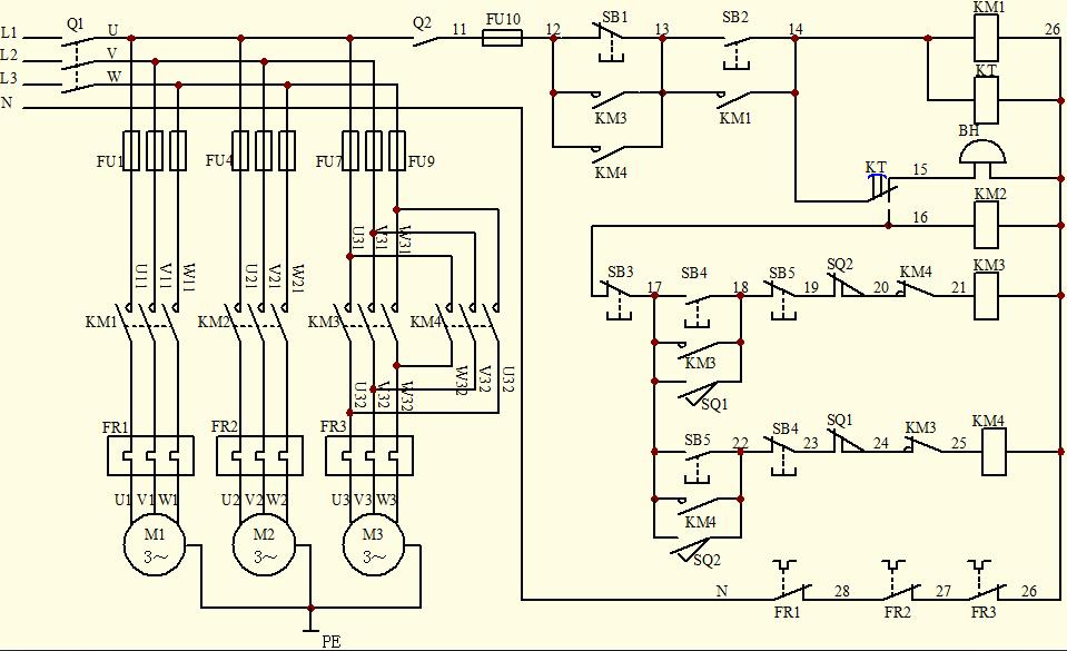 由两台电动机m1和m2,要求:m1先启动,延时10s后,m2自行