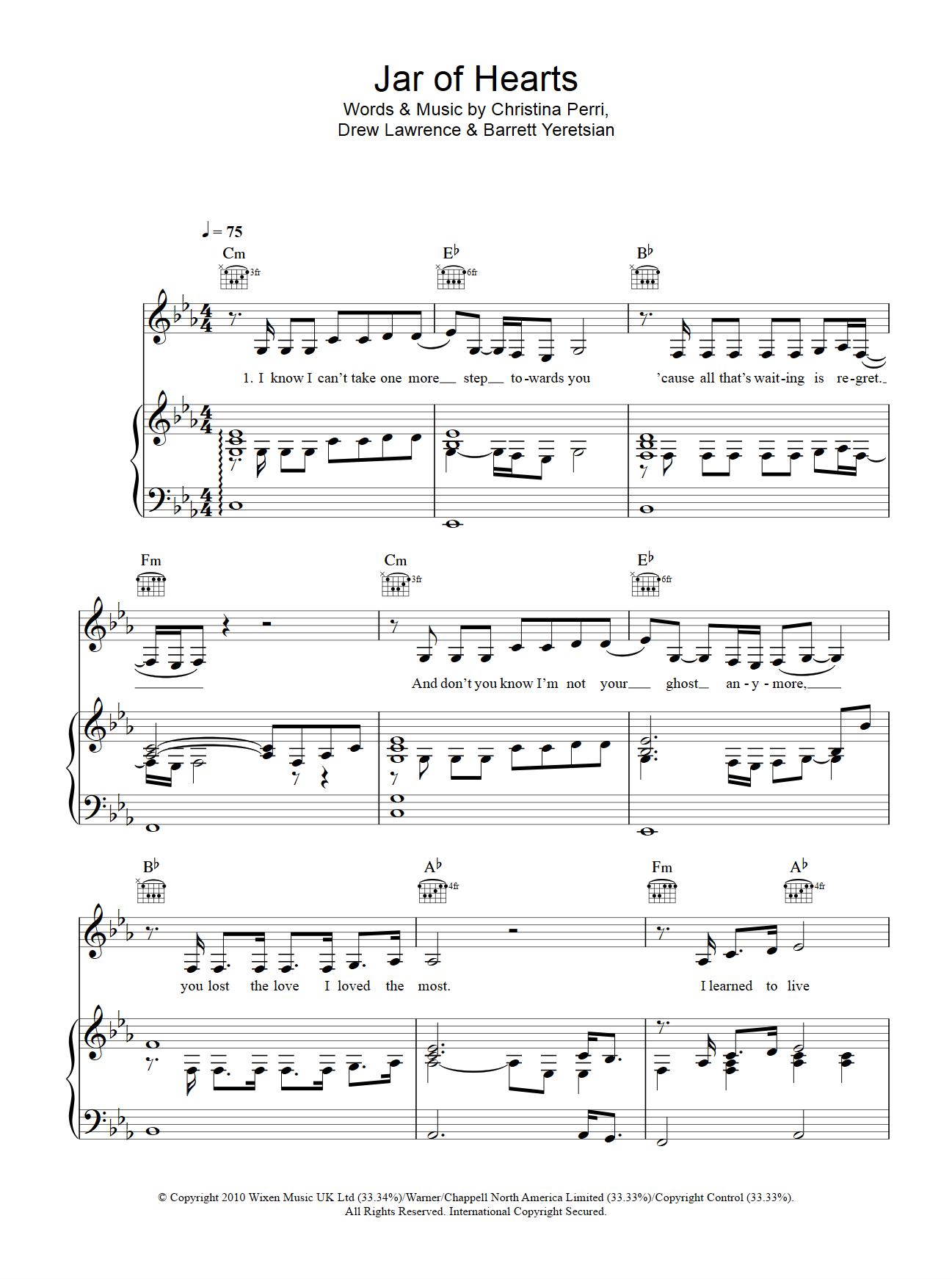 jar of heart钢琴谱,最好是伴奏谱子,不是也可以