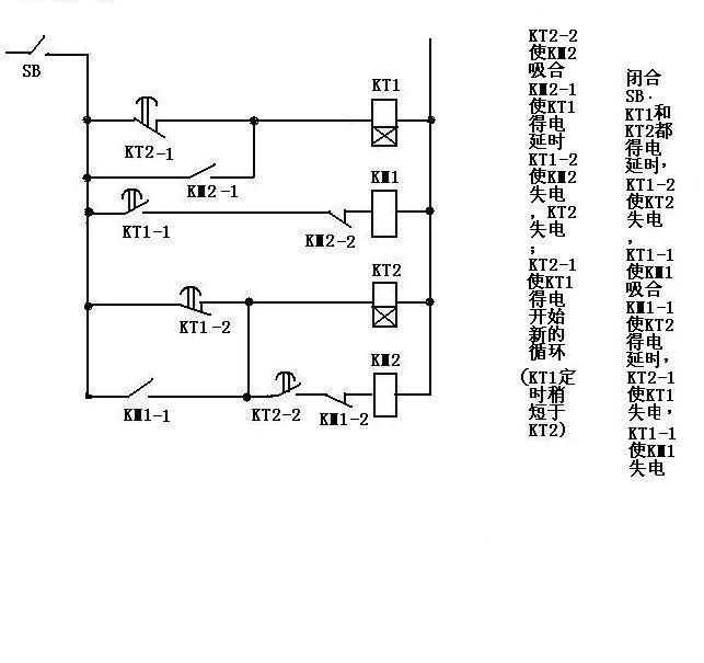 谁能给画一个用时间继电器来控制的电机正反转电路图啊,化的简单点最