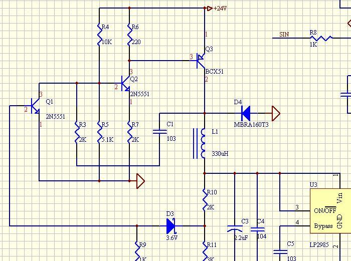 三极管构成的24v转5v震荡电路原理问题