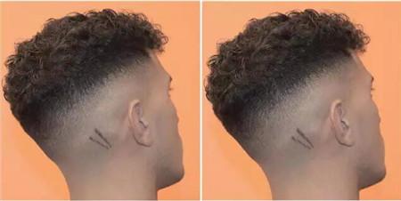 求头发两边推掉刻闪电图案的发型图片!