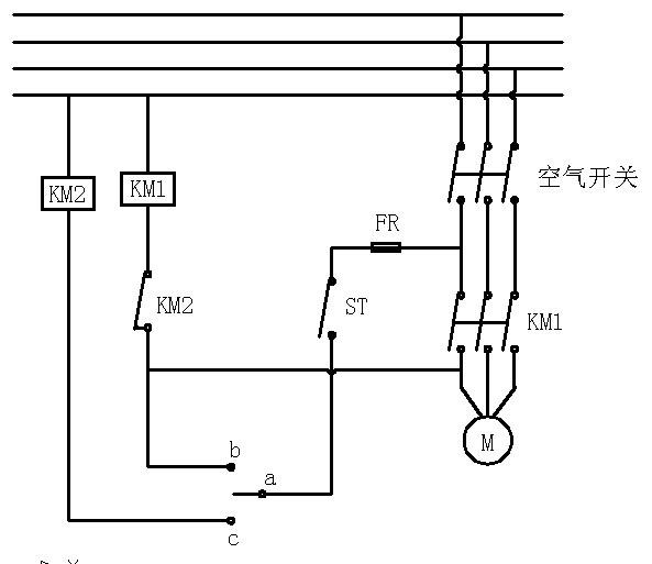 我的电路是自动控制真空泵的启动和停止,st是开关按钮,ab为低压-0.