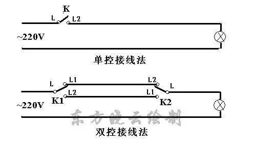 拉线式双控开关接线图