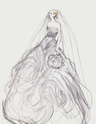 这种婚纱手绘稿都是怎么画出来的啊,为毛我一画就有一
