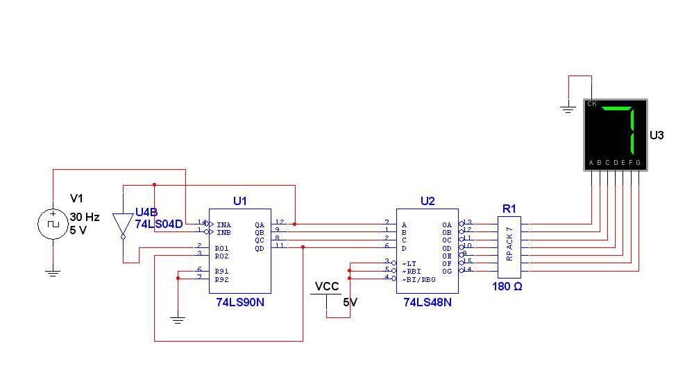 0软件做电路图,用到74ls90d和数码管.设计一个七进制或八进制计数器.