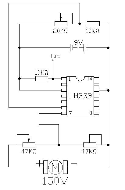 电路,直流发电机发出的电压经过两个47k欧姆的变阻器分压与9v的分压