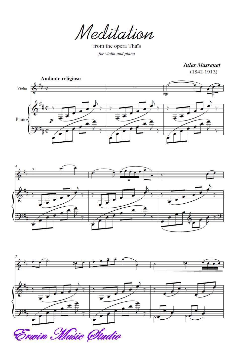 急求马斯涅《沉思》的钢琴伴奏谱子
