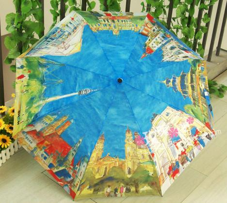 八国风景油画雨伞上 8个图案分别都是哪里?