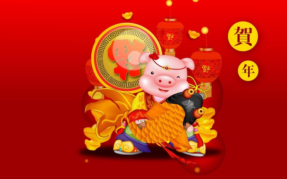 新年猪创意美术