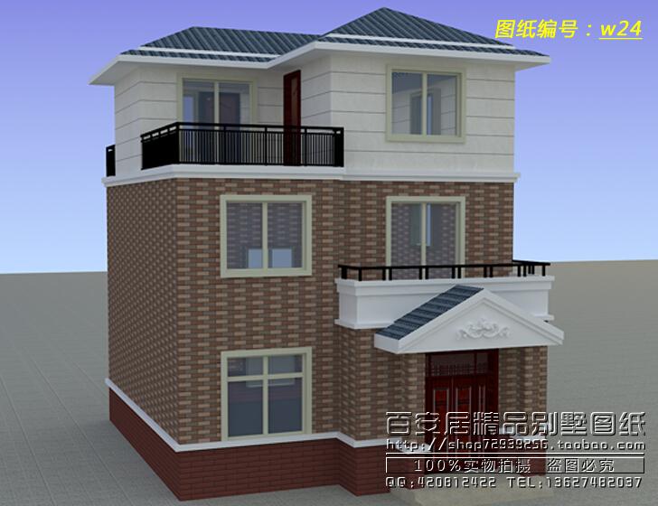 农村自建一百平两室一厅三层别墅设计效果图