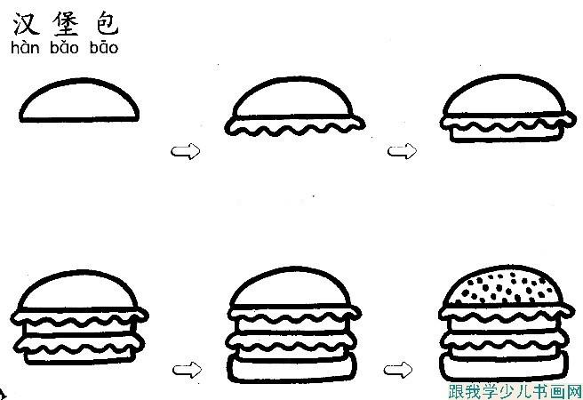 画汉堡包简笔画的绘画过程