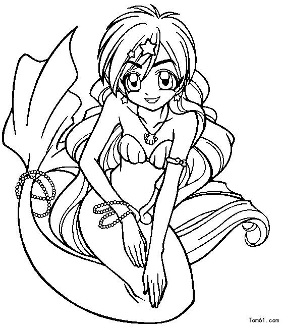 美人鱼公主儿童铅笔画简单