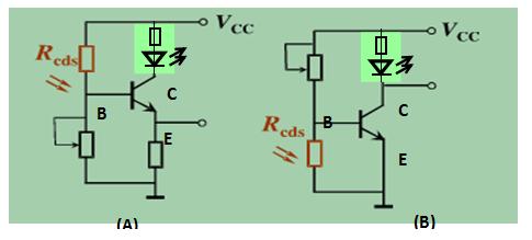 图为光控led灯电路,请分析回答哪一个是亮通电路,哪一个是暗通电路?