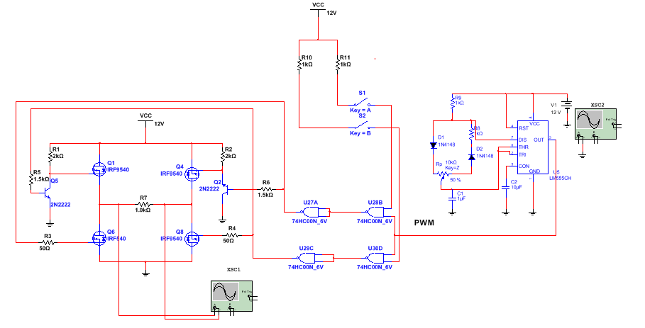 mos管h桥式驱动电路仿真问题