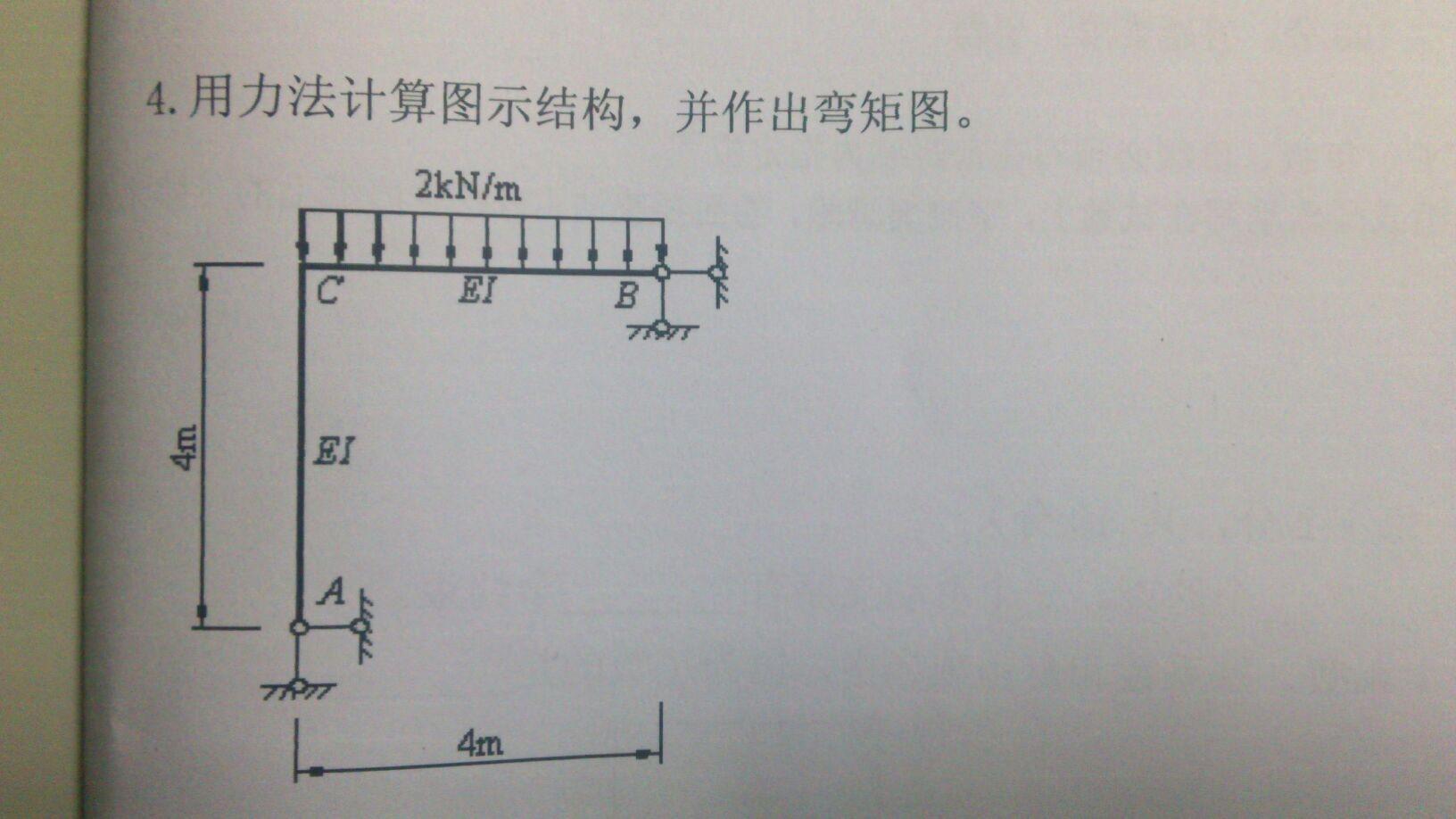 结构力学求出如图所示钢架的弯矩图