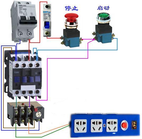 原来的线路中有用到交流接触器和热继电器控制三相水泵启动,现加时控
