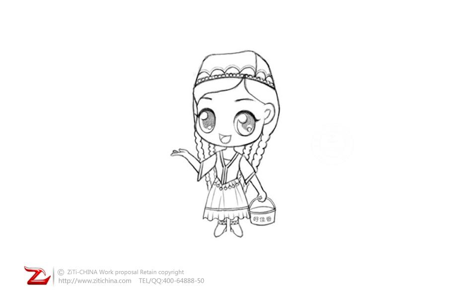 新疆女孩卡通画图片