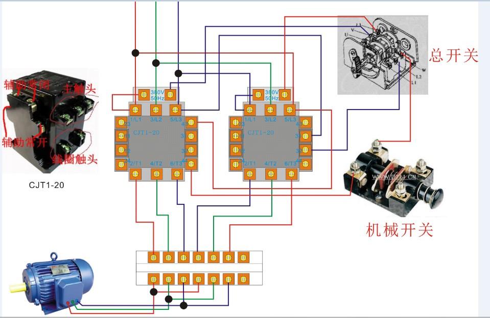 由一总开关控制主电流来控制电机保持正转,当碰到一机械开关时电机