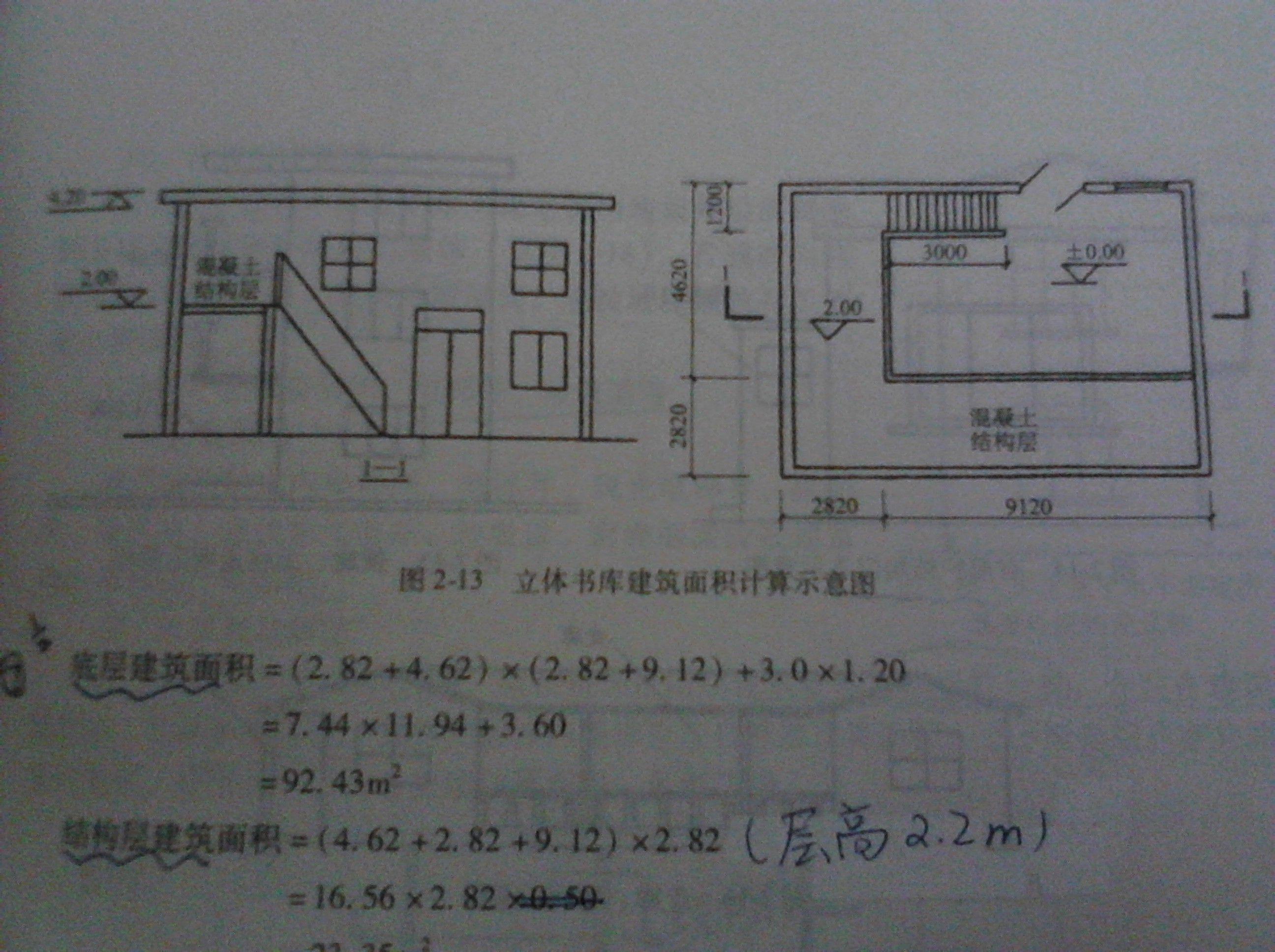 求立体书库的建筑面积,我觉得答案给的底层建筑面积是