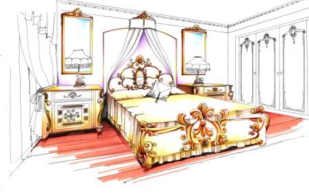 手绘效果图单体床