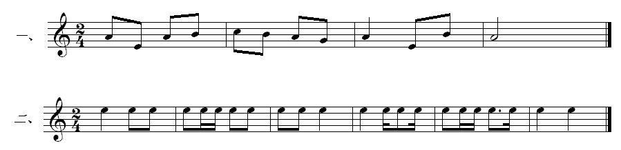 翻译为五线谱和划出小节线