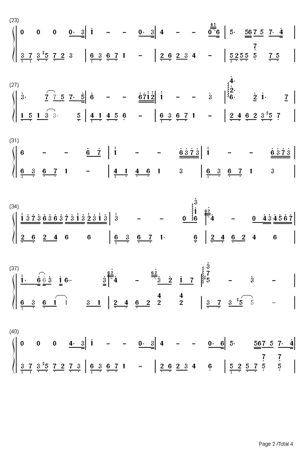 求tears眼泪钢琴曲的双手简谱(全的简谱)