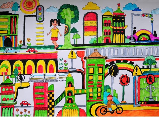 跪求!四年级绘画作品安全的,不要太难也不要像幼儿园小朋友画的,谢谢!图片