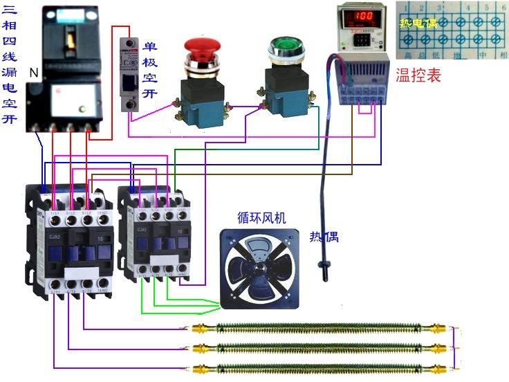 温控表电源接220v,温控表控制输出接接触器a,接触器a主回路接加热棒