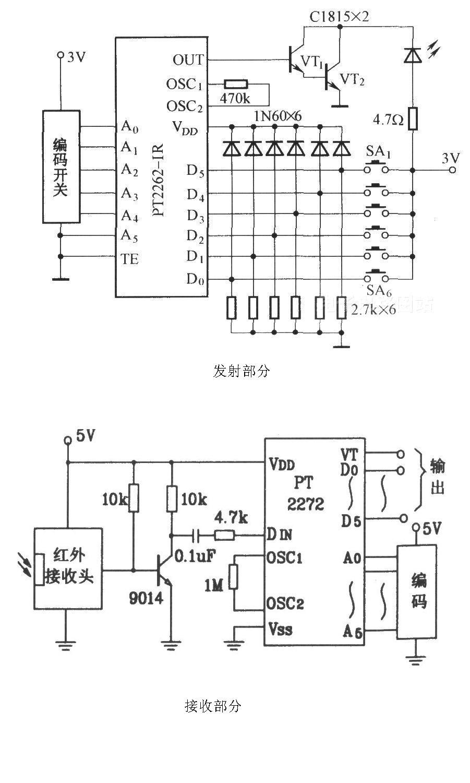 pt2262与pt2260-r4s的应用电路图
