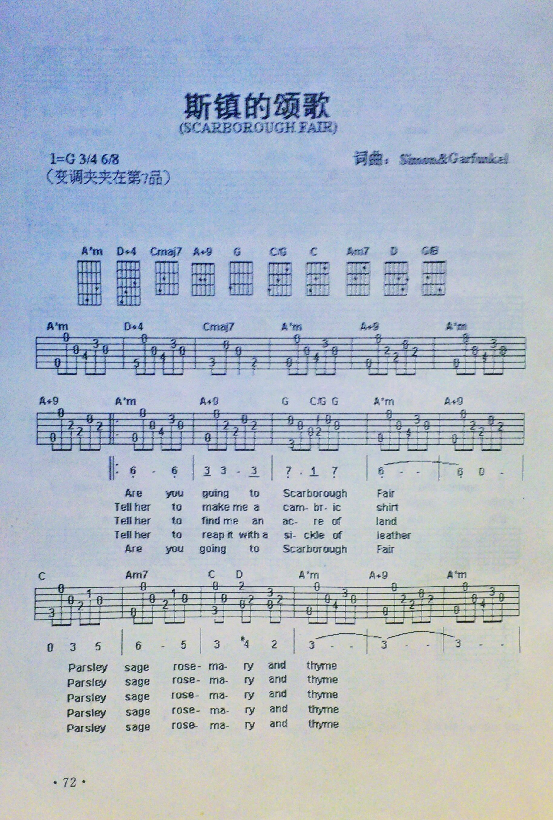 谁有斯卡布罗集市的吉他谱?而且再要一份有中英译文的图片