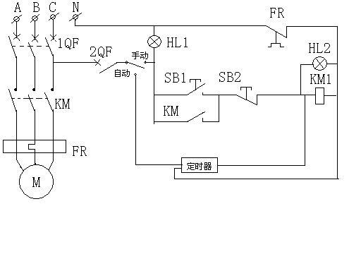谁能画出工作原理图用220v10a定时开关控制380v交流接触器,后接三相