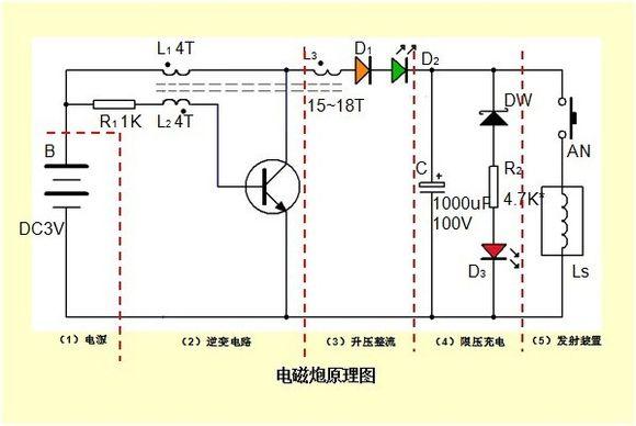 求大神解答电磁炮电路图,逆变电路,三升压整流,三极管